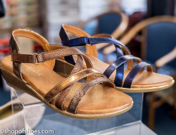 Womens metalic blue or bronze  small wedge sandal